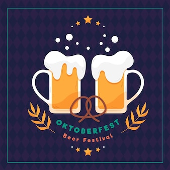 Flache design oktoberfest illustration