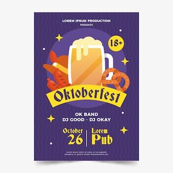 Flache design oktoberfest poster vorlage