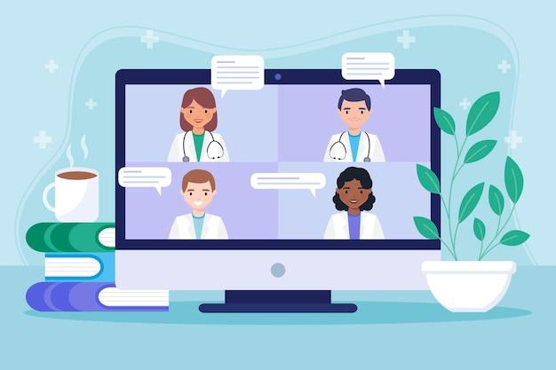 Flache design online-medizinische konferenz