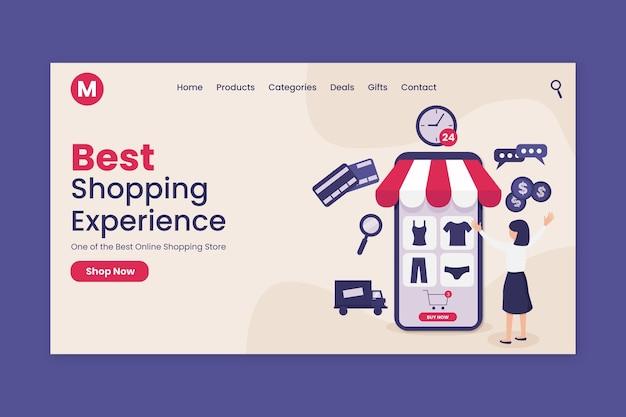 Flache design online-shopping-landingpage-vorlage