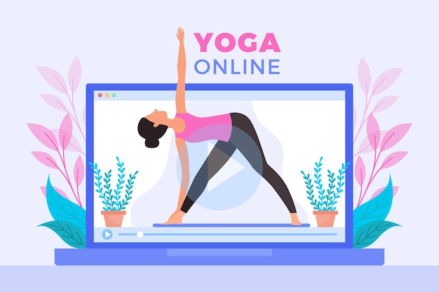 Flache design online-yoga-klasse
