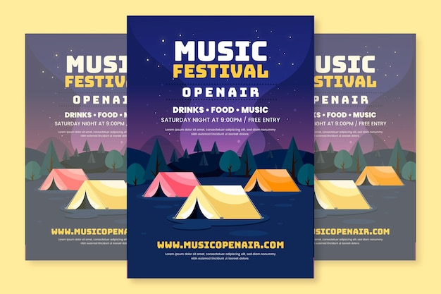 Flache design open air musik festival poster vorlage