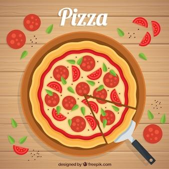 Flache design pepperoni pizza hintergrund