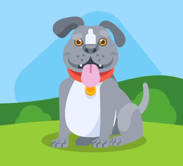 Flache design pitbull illustration