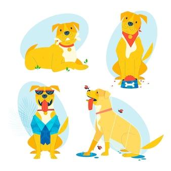 Flache design pitbull rasse hunde