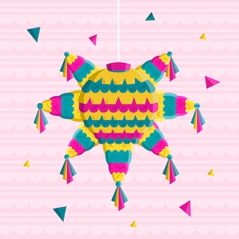 Flache design posada piñata illustration