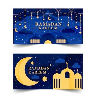 Flache design ramadan banner
