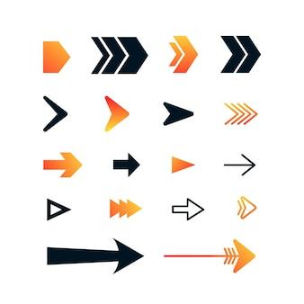 Flache design rechtspfeil sammlung