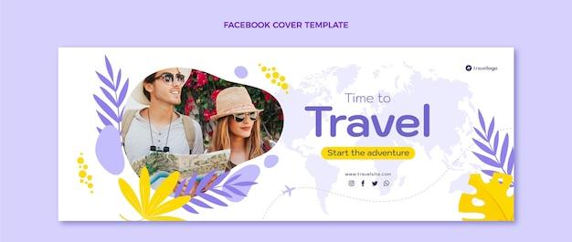 Flache design-reise-facebook-abdeckungsvorlage