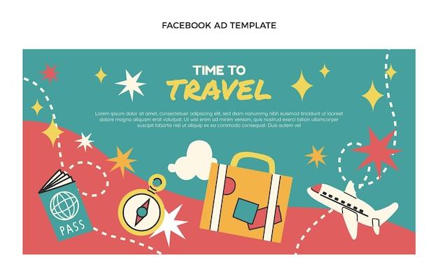 Flache design-reise-facebook-vorlage
