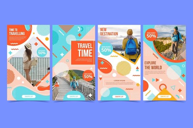 Flache design-reise-instagram-geschichten-sammlung