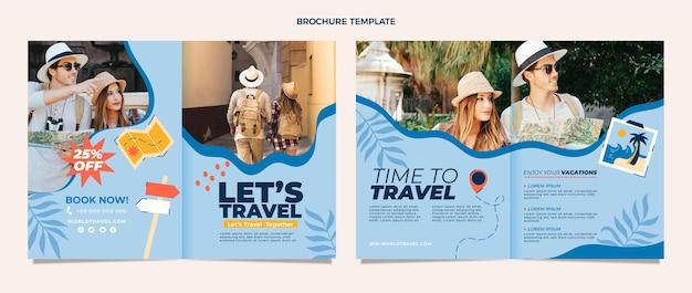 Flache design-reisebroschüre-vorlage