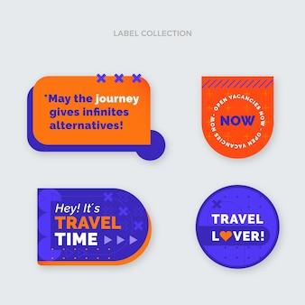 Flache design-reiseetikettenkollektion