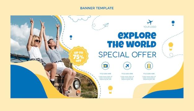 Flache design-reiseverkaufsbanner-vorlage