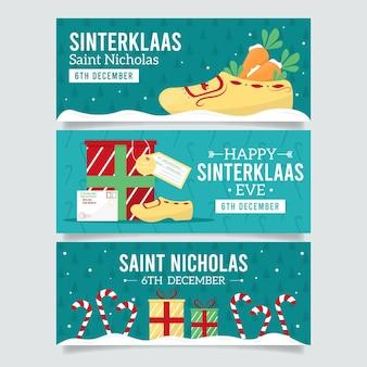 Flache design saint nicholas tag banner sammlung