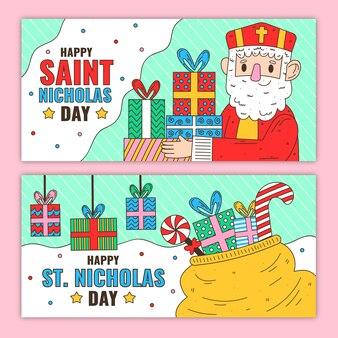 Flache design saint nicholas tag banner vorlage