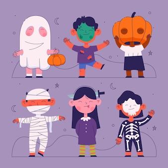 Flache design-sammlung von kindern in halloween-kostümen