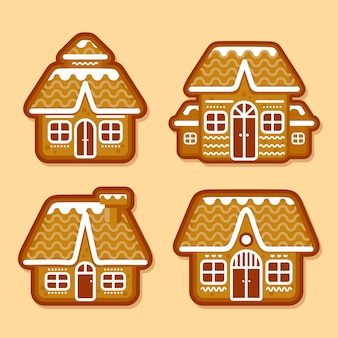Flache design-sammlung von lebkuchenhäusern