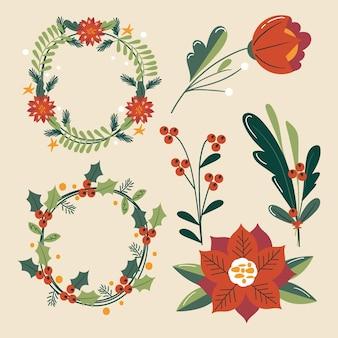 Flache design-sammlung von weihnachtsblumen und kränzen