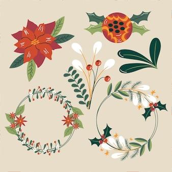 Flache design-sammlung von weihnachtsblumen