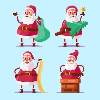 Flache design santa claus charaktersammlung