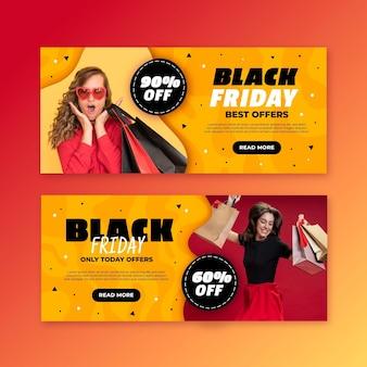 Flache design schwarze freitag banner vorlage