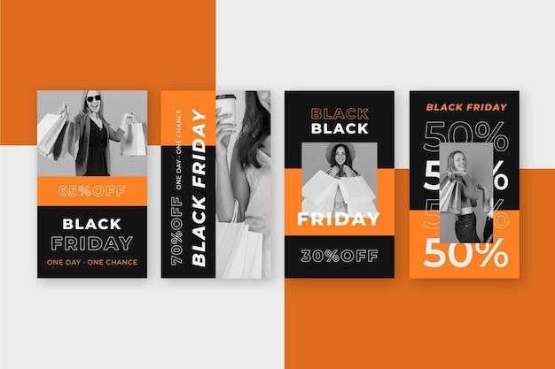 Flache design schwarze freitag instagram geschichten
