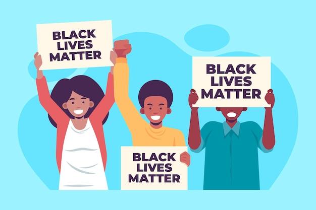 Flache design schwarze leben materie demonstranten