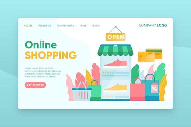 Flache design-shopping-online-landingpage