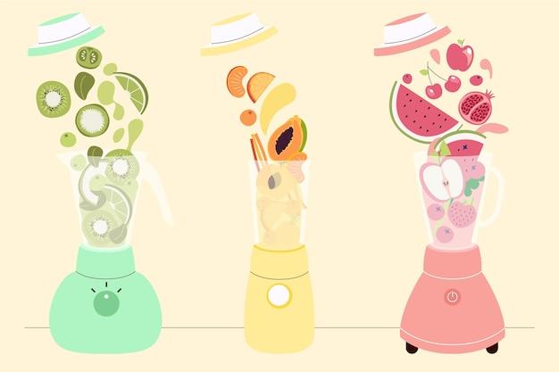 Flache design-smoothies aus mixerglas