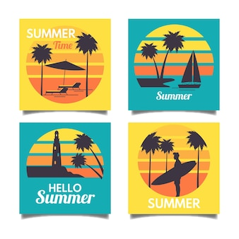 Flache design-sommerkartenpaketvorlage