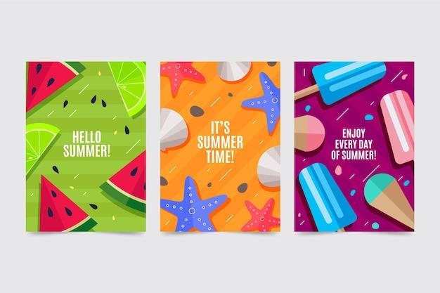 Flache design-sommerkartensammlung
