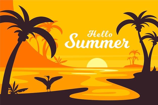 Flache design-sommerpalmen bei sonnenunterganghintergrund