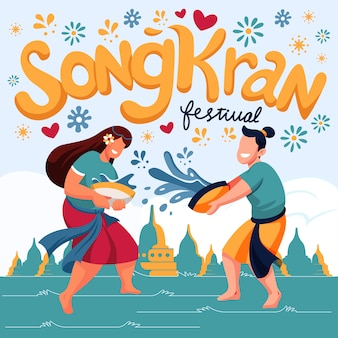 Flache design-songkran-illustration von spielenden personen