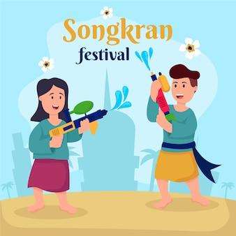 Flache design-songkran-illustration