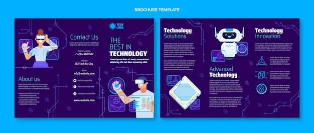 Flache design-technologiebroschüre-vorlage