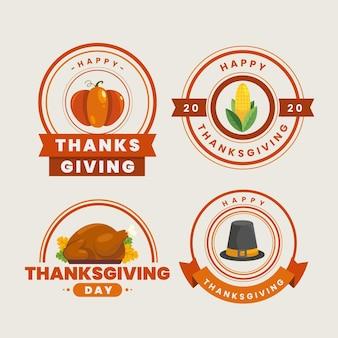 Flache design thanksgiving abzeichen sammlung