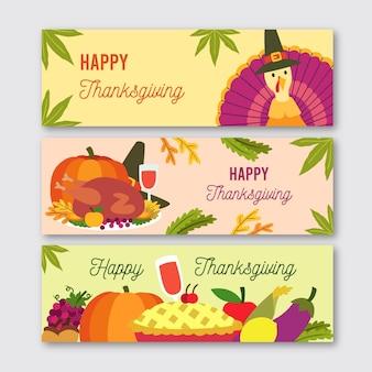 Flache design thanksgiving banner vorlage