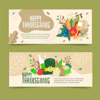 Flache design thanksgiving banner vorlage