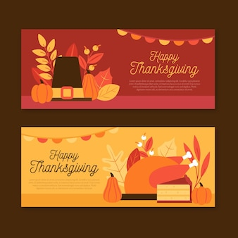 Flache design thanksgiving horizontale banner