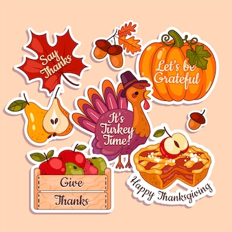 Flache design thanksgiving label kollektion