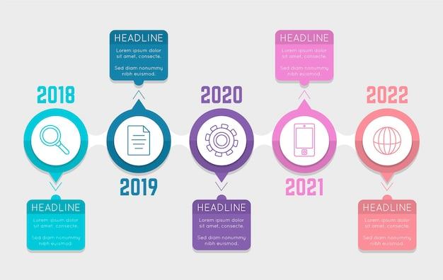 Flache design-timeline-infografik in verschiedenen farben