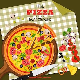 Flache design traditionelle pizza hintergrund