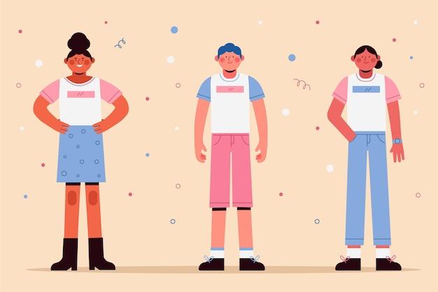 Flache design-transgender-darstellung dargestellt