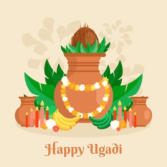 Flache design ugadi illustration