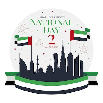 Flache design united arab emirates national day hintergrund