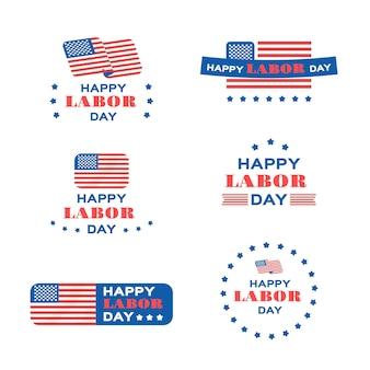 Flache design usa labor day abzeichen sammlung
