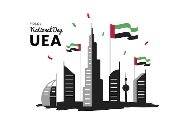 Flache design vae nationalfeiertag feier