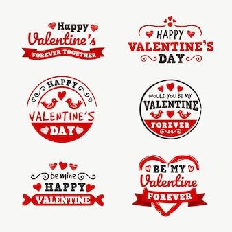Flache design valentinstag abzeichen gesetzt