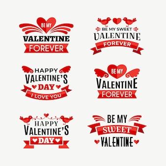 Flache design valentinstag abzeichen pack